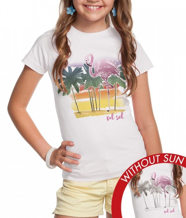 Girl's Crew Tee - Watercolor Flamingo