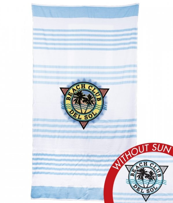 Beach Towel Beach Club Wht/Blue L