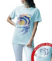 Women's Junior Crew Tee - Watercolor Dolphins