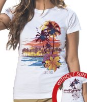 Women's Classic Crew Tee - Palms and Floral Sunset